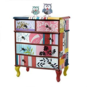 Chest of drawers patchwork design 5 drawers 66 x 39 x 80 for Kommode vintage bunt