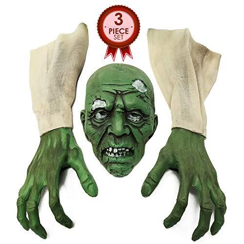 NorNovelties Zombie-Party-Dekorationen und Dekoration, 3-teiliges Halloween-Zombie-Set für den Garten