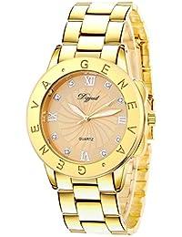 Gold Quartz Women Bangle Bracelet Wrist Watch / A Stunning Crystal Bangle Style Wrist Watch For Ladies
