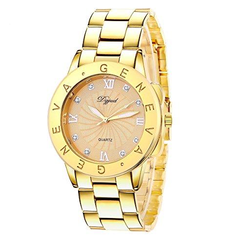 QBD Marken Fashion Damen-Armbanduhr/Damen Armbanduhr zu ermäßigten Verkauf Preis–Rose Gold & Rot Uhr mit römischen Ziffern und Kristalle