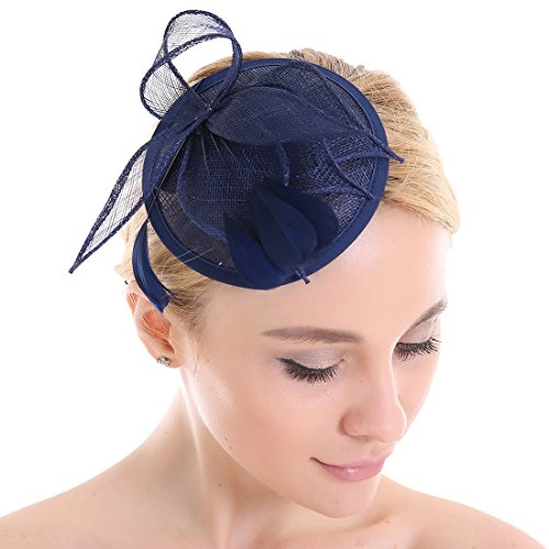 Señoras elegante tocado de plumas tocado pelo Clip accesorios cóctel Royal Ascot azul azul marino Medium