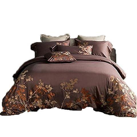 4-Teilige Bettwäsche Set Lang-Stapel Baumwolle Luxus Stil Stickerei Bettwäsche Kit, Steppdecke * 1 / Blatt * 1 / Kissenbezug * 2, Königin / König , Light Brown , 1.8M