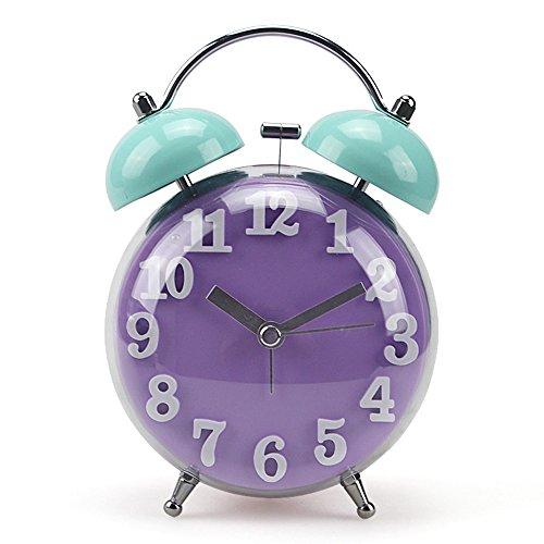Jinberry 4.5 Zoll (10cm) Retro Regenbogen Wecker / Bogenflaeche glockenwecker / Vintage Tischuhr mit licht Nachtlicht, Lautlos Analog Quarz ohne Ticken Schleichende Sekunde Alarm Clock - Lila und Blau