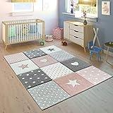 Tappeto per Bambini Colori Pastello Quadri Punti Cuori Stelle Bianco Grigio Rosa, Dimensione:80x150 cm