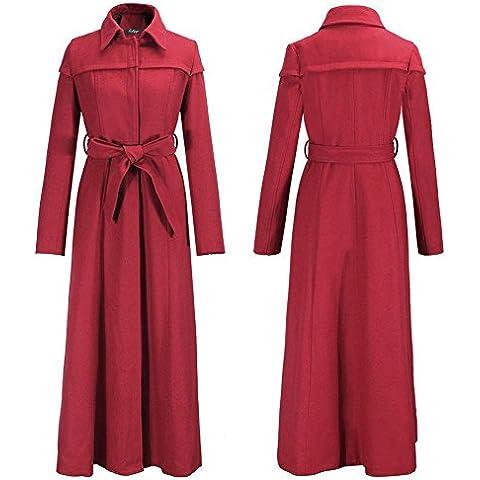 GSKBNT Autunnale e invernale donne il cappotto cappotto nuovo sottile panno di lana maniche lunghe Lana ci sono cinture , red , s