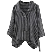 Moonuy Frauen Drei Viertel Trägershirts Damen Gestreifte Top Button up Lose Lange Pullover T-Shirt Plus Size Tunika Bluse