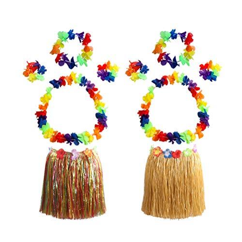 Amosfun 2 Sätze Hawaiian Tropical Hula Grass Rock Set mit bunten Blättern Leis Armbänder Stirnband Armband für Strand Luau Party Supplies für Erwachsene 40cm
