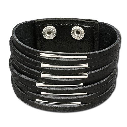 SilberDream Armband Leder Ledersträngen mit des Metalls dekoriert Farbe schwarz, geeignet für die Oberarm-Umfang bis 20cm für Frauen und Herren LAC153S