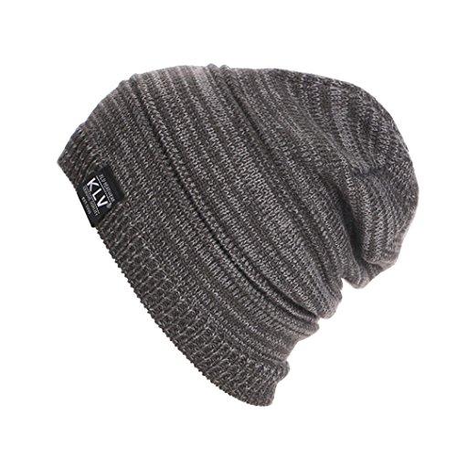 Berretti in Maglia Unisex, Ularma Uomo Donna Unisex Knit rigonfio Beanie inverno Cappello del Pattino Slouchy (GRIGIO)