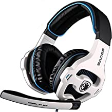 White And Blue USB 7.1 Surround SADES SA-903 Headset Gaming Stereo USB Plug For PC Laptops