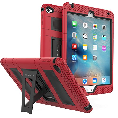 MoKo Hülle für iPad Mini 4 - Silikon + Schwarz Hart Polycarbonat Protector mit faltbarem Kickstand Schutzhülle Case mit Standfunktion für Apple iPad Mini 4 7.9 Zoll IOS 2015 Genaration Tablet, Rot