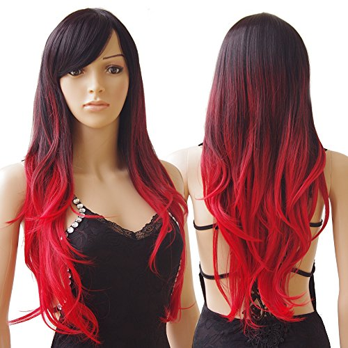 S-noilite® 70cm Damen Lang Ombre Haar Perücken Mode Gelockt Gewellt Perücke Kunsthaar Haar Cosplay Wig - Schwarz zu (Masquerade Red Kleid)