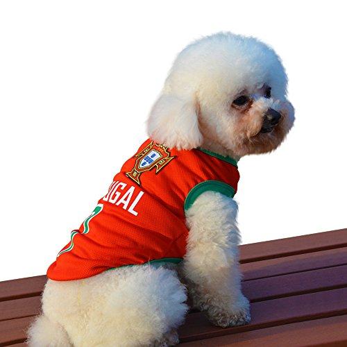 Besmall Hunde Trikot Fußball Jersey T-Shirt für Hunde Katzen Kostüme Haustier Weltmeisterschaft Weihnachtsmannkostüm Kleidung Haustierhundekleidung (XS/S/M/L/XL/XXL,Portugal)