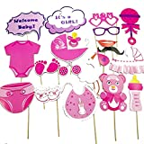 Yililay 20 PCS-Babyparty-Foto Props Bunt Booth Props Kit Mix von Hüten, Lippen, Kronen, Schnurrbärten und perfekteren für Geburtstag, Partys, Hochzeiten (für Mädchen) Girl 20Pcs Spielzeug für Kinder