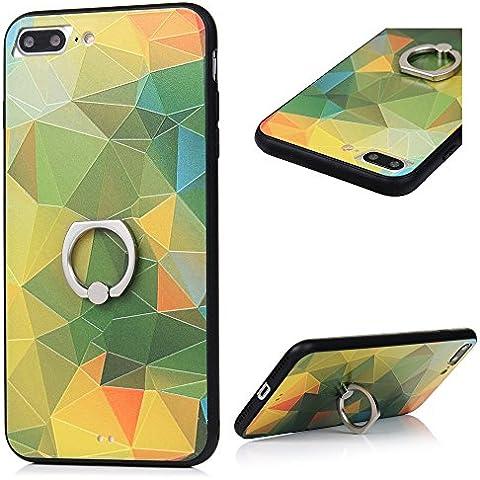 Cover per iPhone 7 Plus Custodia con Anello KASOS Case con Bordo de TPU Morbido e l'indietro de PC Duro per Fornire il Più Alto Livello di Protezione,Modello di Triangoli B