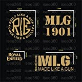 #4: Isee360 Royal Enfield Combo Kit Of Water Resistant Reflected Stickers_ 4 Item Included -Gold Color