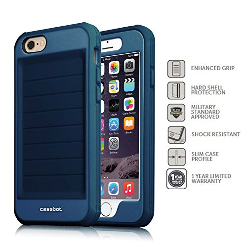Fintie iPhone 6 Plus / iPhone 6S Plus Hülle - [CaseBot Mighty Armor Series] Rugged Skin Shock Proof Schutzhülle Tasche Case Impact Resistant Bumper für Apple iPhone 6S / 6 Plus (5.5 Zoll), Grün Tough Suit-Marineblau
