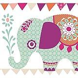 Anna Wand Bordüre Selbstklebend Elefanten Girls - Wandbordüre Kinderzimmer/Babyzimmer mit Elefanten in Versch. Farben - Wandtattoo Schlafzimmer Mädchen & Junge, Wanddeko Baby/Kinder