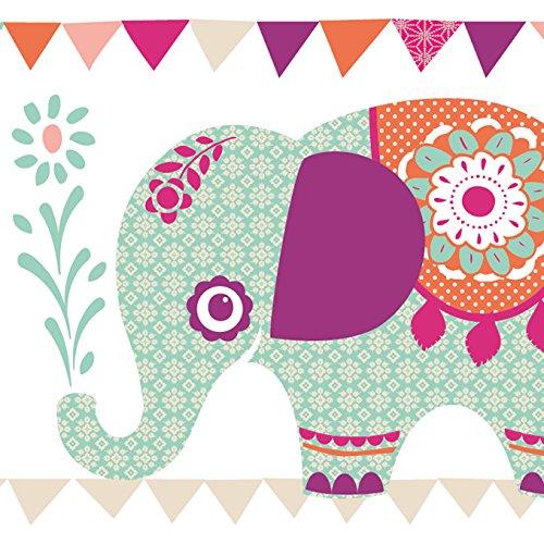 anna wand Bordüre selbstklebend ELEFANTEN GIRLS - Wandbordüre Kinderzimmer / Babyzimmer mit Elefanten in versch. Farben - Wandtattoo...