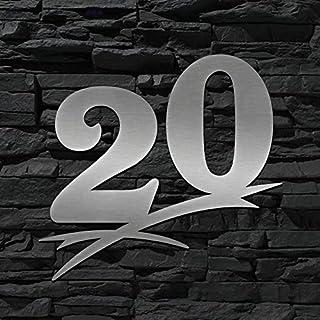 Hausnummer Edelstahl 20 (20cm Ziffernhöhe) - 16cm 20cm 30cm 40cm 50cm - ORIGINAL ALEZZIO DESIGN - V2A - Türschild - LEICHTE MONTAGE - WITTERUNGSRESISTENT …