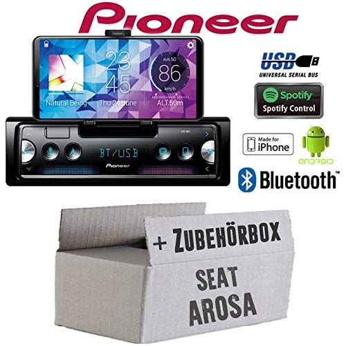 Autoradio Radio Pioneer SPH-10BT - Smartphone Empfänger mit Bluetooth | Spotify | Android | iPhone | 4x50Watt Einbauzubehör - Einbauset für Seat Arosa - JUST SOUND best choice for caraudio - Caraudio-empfänger