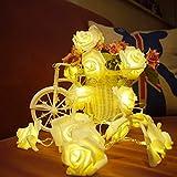 Lichterkette FLOVEME Batteriebetriebene Weihnachtliche mit 20 Stück LED Lichterkette Warmweiß - Rose-Blumen für Party Deko, Garten Deko, Weihnachten, Hotel, Fest Deko, Geburtstag, Hockzeit