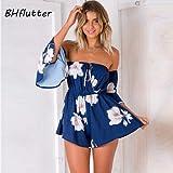 ASGHILL Boho Frauen spielen Anzug Blumendruck trägerlos beiläufige lose Sommer Rumpf ruft Overalls neue Schulter Overalls, blau, l