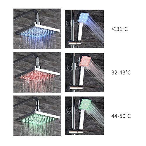 Homelody – Duscharmatur mit Thermostatfunktion und LED-Regendusche, Chrom - 2