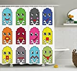Abakuhaus Duschvorhang, Pac Man Kunst Retro Gaming Joystick Geister Maze mit Verschieden Emotionen Pixels Art Druck, Wasser und Blickdicht aus Stoff mit 12 Ringen Bakterie Resistent, 175 X 200 cm