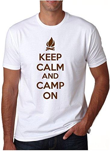 Crazy Dog Tshirts Keep Calm and Camp On T Shirt Funny Camping Shirt I Love to Camp Tee (white) 3XL - herren - 3XL (Mädchen-pfadfinder-verdienst-abzeichen)