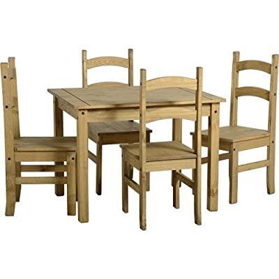 Mercers Furniture Corona Budget Dining Table and 4 Chairs - Pine - cheap UK light shop.