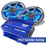 Car Audio Set 'Potsdam' Système 2.0 Mini ampli + haut-parleurs LED 600W