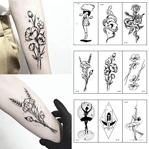 Kostüm Ballett Blume Festival - 1 Stück Beliebte Ballett Weiße Blumen Tattoos Aufkleber Temporäre Zeichnung Body Art Gefälschte Wassertransfer