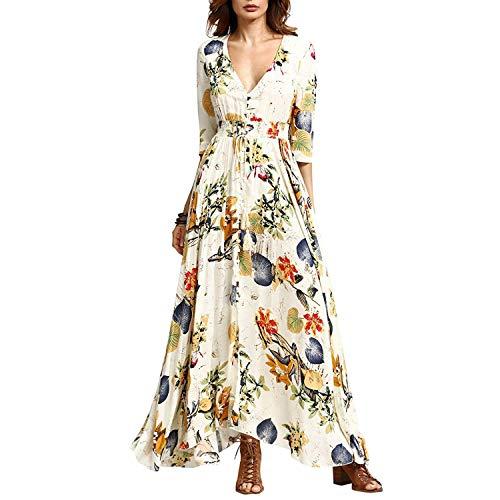 KUONUO Damen Kleid, Blumenmuster, V-Ausschnitt, Blumenmotiv, Maxi-Kleid, Strandkleid, Sommer, Casual Gr. X-Large, beige