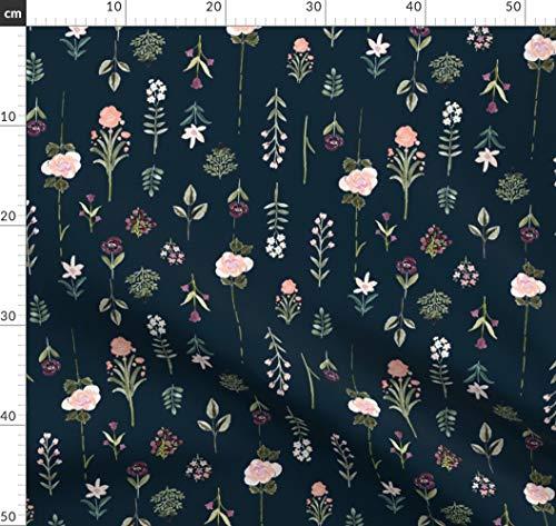Blumen, Vintage, Rose, Blassrosa, Mitternacht, Salbei Stoffe - Individuell Bedruckt von Spoonflower - Design von Crystal Walen Gedruckt auf Sport Lycra -