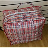 Medium Reusable Strong Check Storage Laundry Clothes or Shopping Bag Blue or Red (Red)