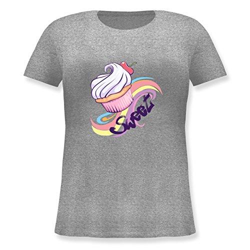 kuche-sweet-cupcake-l-48-grau-meliert-jhk601-lockeres-damen-shirt-in-grossen-grossen-mit-rundhalsaus