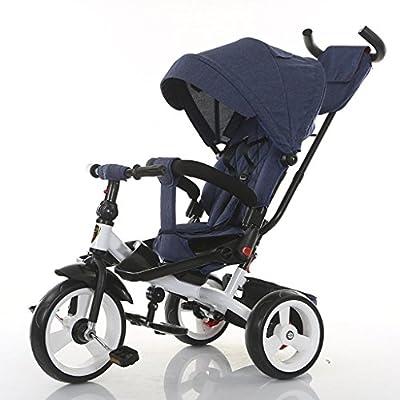 YC electronics Sillas de Paseo Baby Kids Children Triciclo Ride-on 3 Ruedas Seguro para niños con toldo Solar, Almacenamiento Trasero y Mango Antideslizante Sillas Ligeras