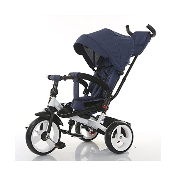 Baby Kids Children Tricycle Ride-on 3 Wheels Safe for Children with Sun Canopy,Back Storage and Non-Slip Handle (Color : A) DUOER-Pushchairs Features assembled canopies without worrying about rain and sunshine. Safety features and safety belts are provided for safety. The pedal can be folded for more convenient use: the pedal can be folded to make travel more convenient. Upgrade the thickened sponge pillow to protect the baby's head and make the baby ride safer. 1