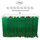 OurWarm Hawaiian Luau Table Skirt 9ft Grass Table Skirt with Hibiscus Flowers BBQ Tropical Garden Beach Summer Tiki Party Decorations, Green