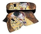 Set Brillenetui und Brillenputztuch Gustav Klimt Der Kuss von Fridolin