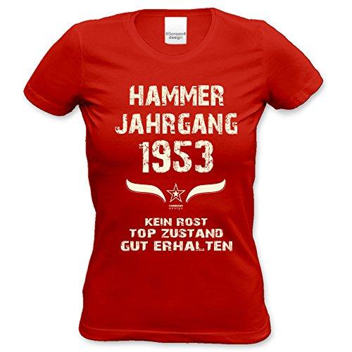 Damen Jahreszahl Motiv T-Shirt :-: Geburtstagsgeschenk Geschenkidee für Frauen zum 64. Geburtstag :-: Hammer Jahrgang 1953 :-: Girlie kurzarm Shirt mit Geburtstags-Aufdruck :-: Farbe: rot Rot