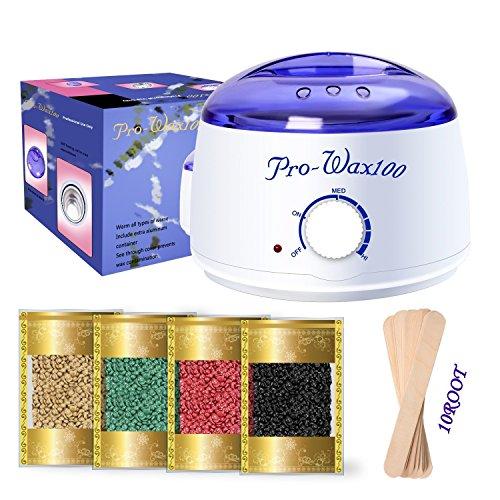 Épilation Kit d'épilation à la cire dépilatoire,450 ml électrique chauffe cire + 4 différents arômes Cire rigide fèves + 10 spatules en bois,cire chaude, cire Film, épilation, Hair Removal Wax Pellets