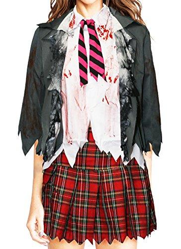 Bslingerie Damen Zombie Schulmädchen Hemd und Rock Kostüm Set (L, Hemd und Rock Set)