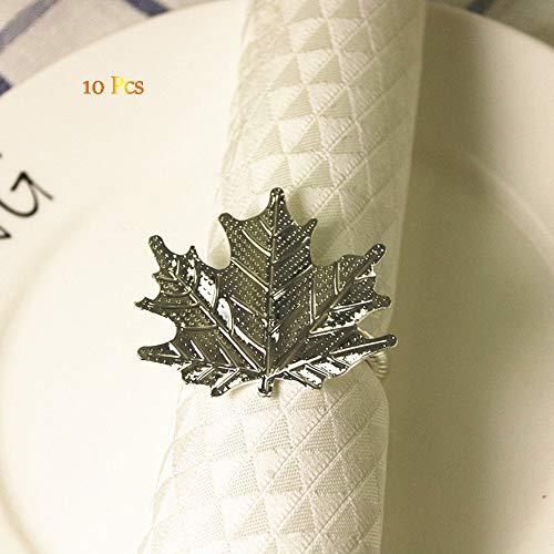 OYPA Gold Serviettenringe, Edelstahl Maple Leaf Design Serviettenschnalle Set von 10 für Hochzeitsfeier Dinner Table Decor,Silver -