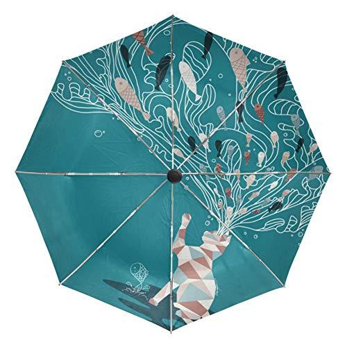 LIHAITAO,Katzenmalerei Faltbarer, sonniger und regnerischer Regenschirm Vollautomatische, Schwarze Außenbeschichtung UV-Schutz Cat's Mind Eating Fish Umbrellas,Sky Blue