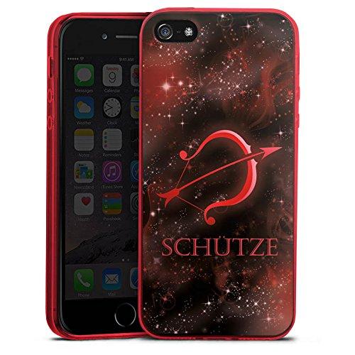 one 5s Slim Case transparent rot Silikon Hülle Schutzhülle Sternzeichen Bogen Pfeil ()