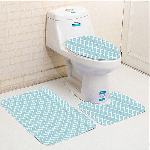 Retro-küche-kabinen (Keshia dwete dreiteilige WC-Sitz Pad customretro Pastell farbigen Quadraten und Linien Muster Fliesen Diagonal Geometrical Design Sky Blau Weiß kariert 15.7x19.6/15.7x19.6/19.6x31.5 inch multi)
