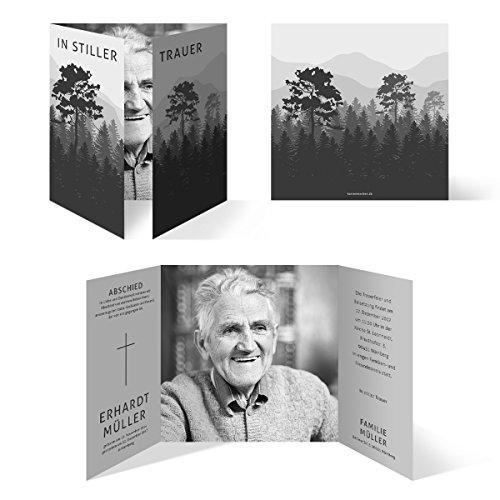 Individuelle Trauerkarten (30 Stück) Einladung Trauerfeier Karten - stiller Wald in Schwarz und Weiß