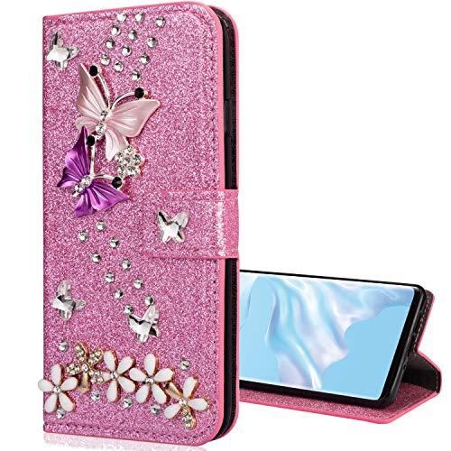 Nadoli Leder Hülle für Huawei P30,Luxus Bling Glitzer Diamant 3D Handyhülle im Brieftasche-Stil Schmetterling Blumen Flip Schutzhülle Etui für Huawei P30,Rosa